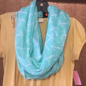 Accessories - NWT Mint green infinity scarf with Cross designs